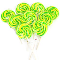 Green & Yellow Swirl Lollipops - Apple Pie & Custard Flavour - 30pk