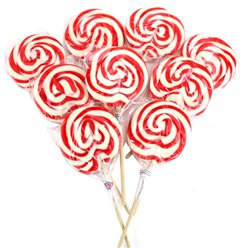 Red & White Swirl Strawberry Flavour Lollipops - 30pk