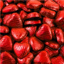 Red Foil Chocolate Hearts - 100pk