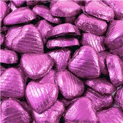 Pink Foil Chocolate Hearts - 100pk