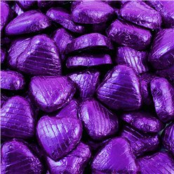 Purple Foil Chocolate Hearts - 100pk