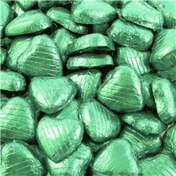 Pale Green Foil Chocolate Hearts - 100pk