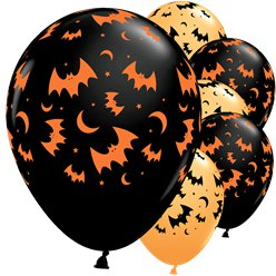 "Flying Bats & Moons Balloons - 11"" Latex"