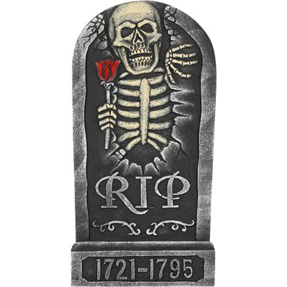Skeleton and Rose Tombstone - 65cm