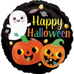 "Ghost & Pumpkin Foil Balloon -18"" Foil"