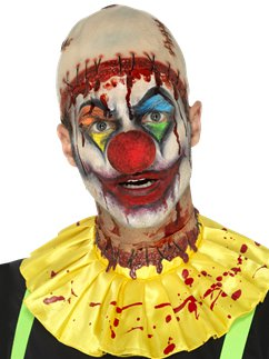 Latex Creepy Clown Instant Kit - Bald Cap, Ruffle & Neck Wound