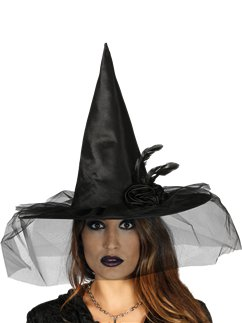 Black Witch hat with Flower