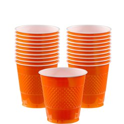 Orange Cups - 266ml Plastic Party Cups