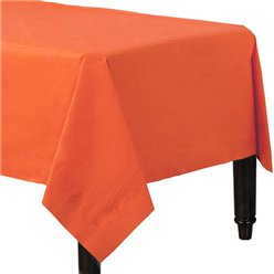 Orange Plastic Lined Paper Tablecover - 1.4m x 2.8m