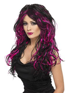 Gothic Bride Halloween Wig - Black & Purple