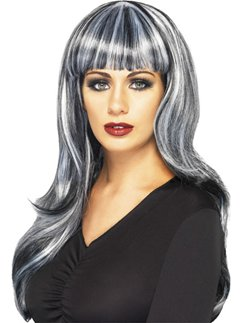 Sinister Siren Halloween Wig - Grey & Black